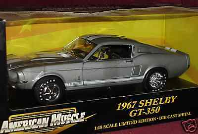ERTL 1967 FORD MUSTANG SHELBY SILVER/WHITE GT350 1/18