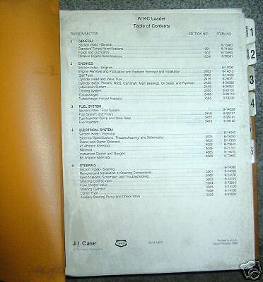 Case W14C Wheel Loader Service Repair Manual book