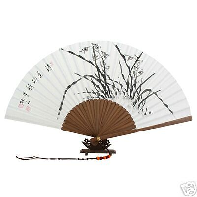 Folding White Paper Chinese Ink Orchid Painting Bamboo Wood Wall Art Fan