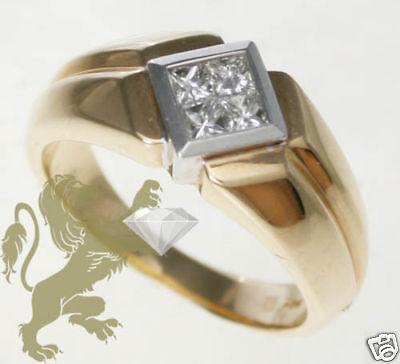 14k Mens Diamond Rings - 0.40ct Mens 14K Yellow Gold Princess Diamond Wedding Band Ring
