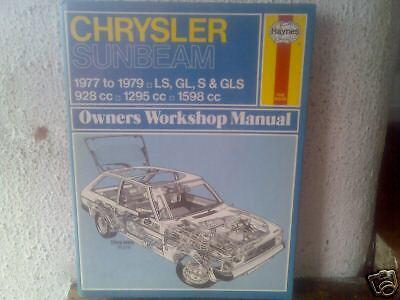 CHRYSLER SUNBEAM 1977 79 All Models Haynes Manual Vgc