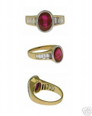 Estate 18Kt Yellow Gold Ruby Diamond Ladies Ring